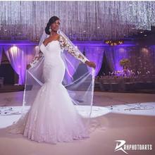 Africa Hot Sale Free Shipping Sweetheart Long Sleeve Crystal Lace Applique Custom Vestidos De Novia HTN1 Mermaid Wedding Dresses