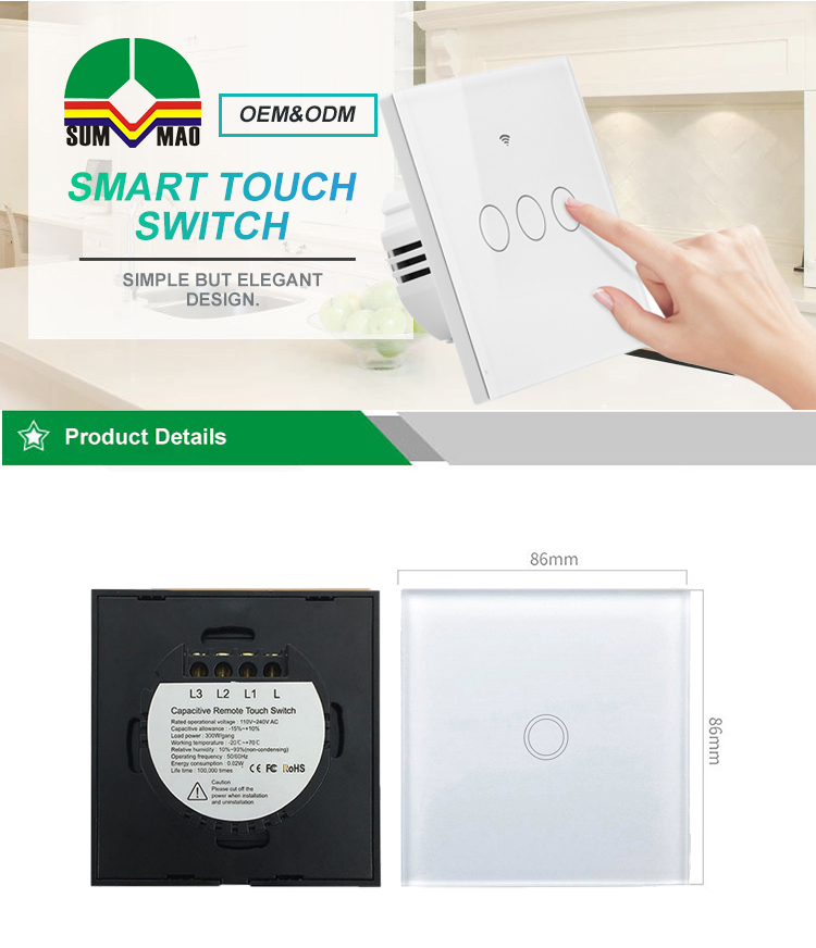 Remote Control Wall Mounted Smart Home Wireless Light Switch