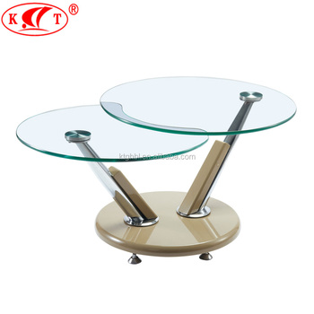 New Product Rotating Round Glass Coffee Table With 2 Tiers Buy New