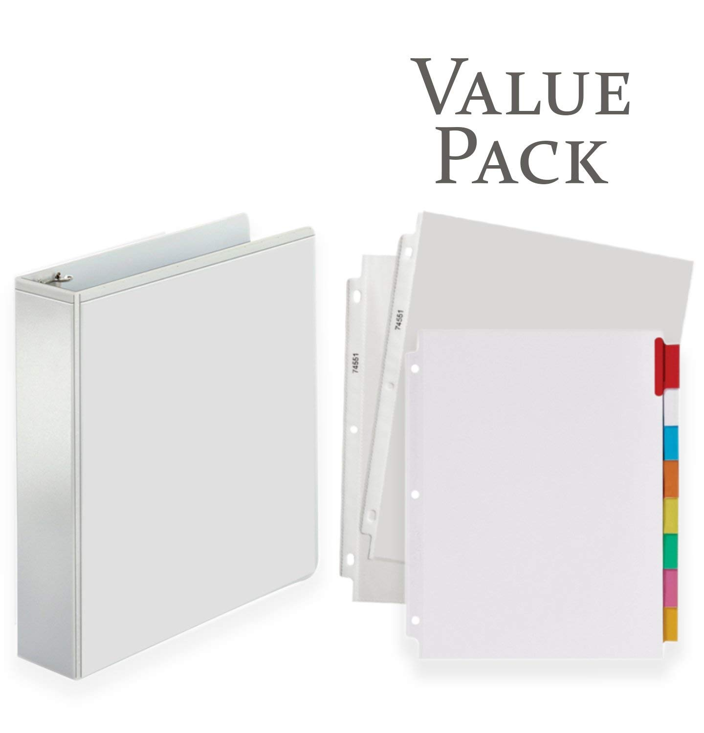 3-Ring Binder, Presentation View Binders - With 20 Top-Loading Poly Clear Sheet Protectors - and Big Tab Insertable Extra Wide Dividers, 8 Multi-color Tabs - VALUE PACK (2 Inch, White)