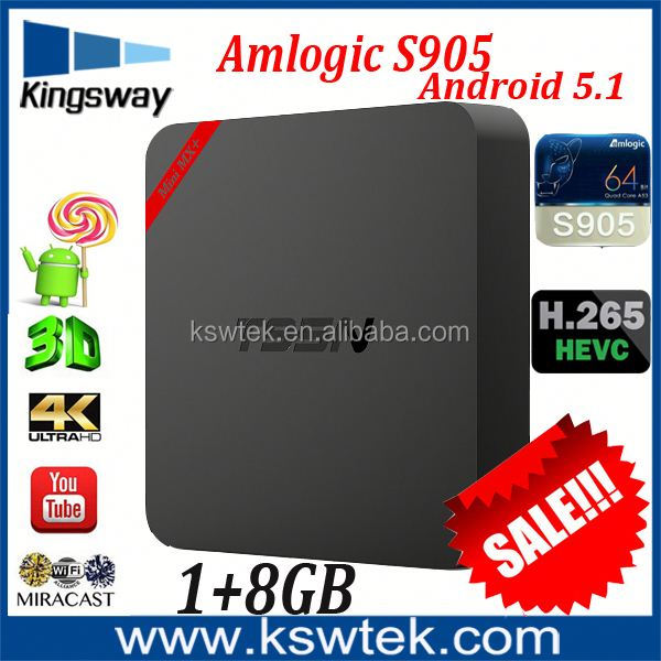 High Quality Competitive amlogic s905 android 5.1 1/8gb t95n dream box 800 hd satellite tv receiver