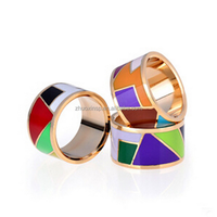 stainless steel Wide Colorful rings