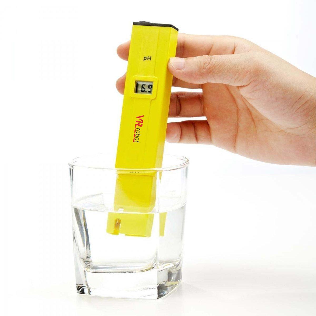 VR-robot Digital PH Meter Tester, PH-009-VR Pocket Pen with PH Buffer Powder , Monitor pH Testing, Aquarium, Water, Swimming Pool, Hydroponics, Kombucha, ph meters Kit(Yellow)