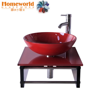 red color Wall mounted vanity glass sinks with wooden support for america market
