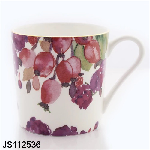 White Glaze Ceramic Porcelain Coffe Mug Cup with flower printing