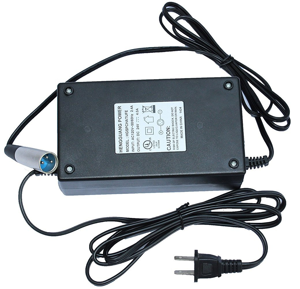 LotFancy 24V 4A 4000mA Electric Bike Motor Scooter Battery Charger Power Supply Adapter For Hoveround mobility scooters, Invacare Nutron R32LX, Jazzy Select, Pride Revo mobility scooter, Shoprider 6Runner 10 scooter, Shoprider Folding Power Chair FPC, Bruno Typhoon