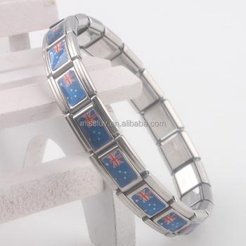 Stainless Steel Stretch Bracelet Link Charm Australian Flag Charms Bangle Elastic Australia