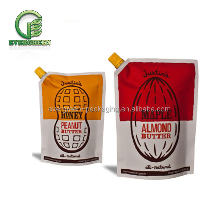 wholesale custom printing stand up pouch food grade with spout for peanut butter packaging bag