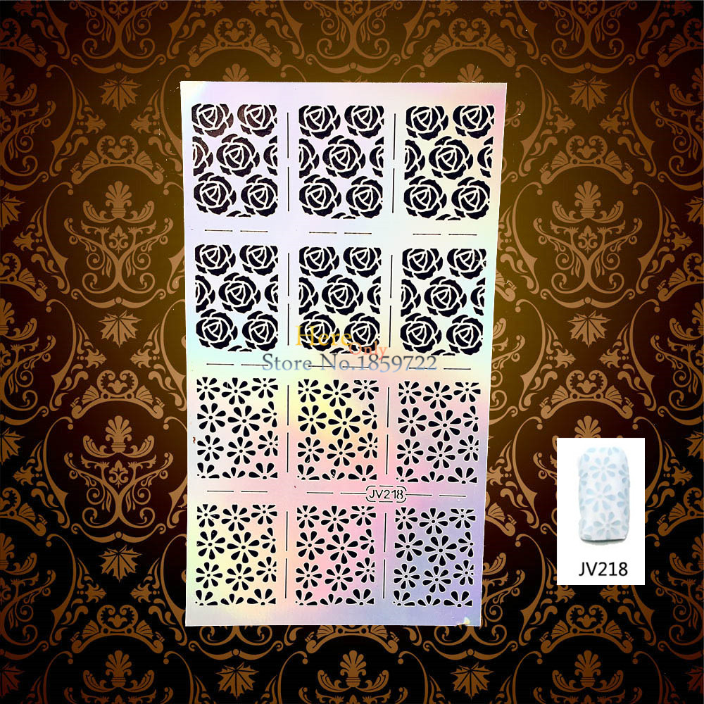 1PC Creative Flower Rose Pattern Sexy Nail Foil Flash Stamp Template HV218 Flora Designs Nail Manicure
