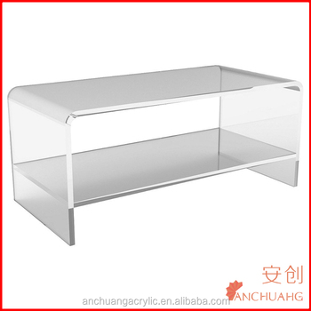 Clear Waterfall Acrylic Coffee Table W Shelf Small Plexigl Console Product On Alibaba
