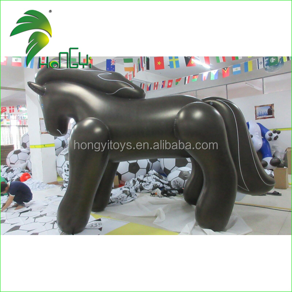 2016 3m Tall All Black Inflatable Horse , Giant Inflatable Jumping Horse With Blue Eyes