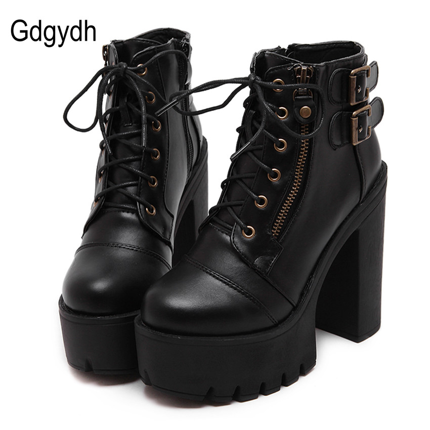 7c1e004903318 Gdgydh Hot Sale Russian Shoes Black Platform Boots Women Zipper Spring High  Heels Shoes Lace Up Ankle Boots Leather Big Size 42-in Ankle Boots from  Shoes on ...
