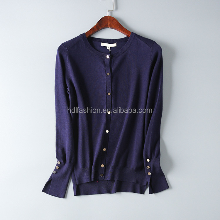 12GG plain knit navy cardigan ladies bulk wholesale sweater