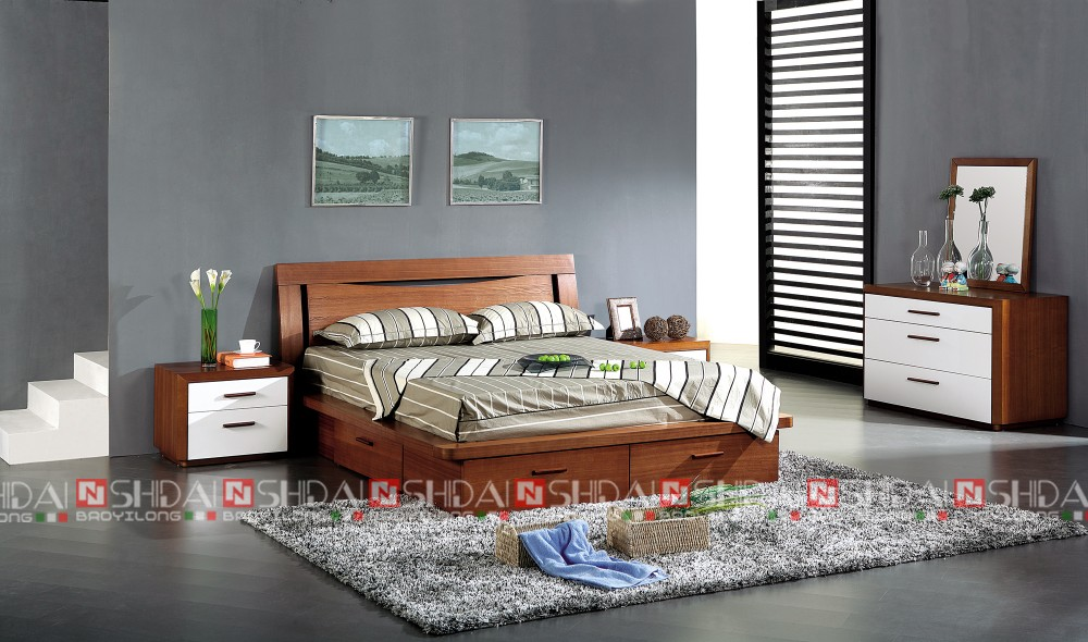 Modern wood double bed designs with box latest wooden for Indian box bed designs photos
