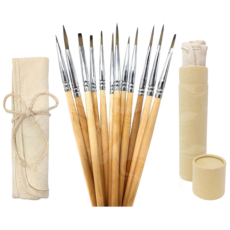 12pcs detail paint brush miniature painting artist and kids art supplies with free authentic canvas case