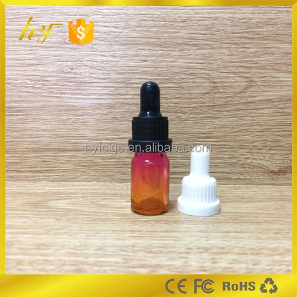 gradually changing color e cigarette oil bottle with tamper dropper