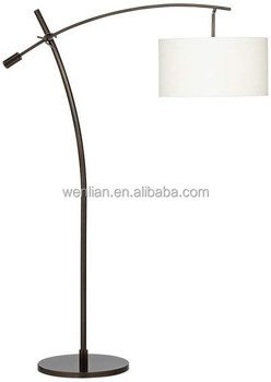 bronze boom arc floor floor lamps with linen shade