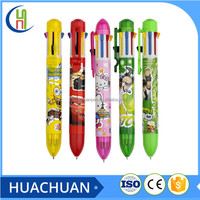 promotion 8 ink color plastic ball pen with heart transfer