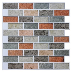 Peel and Stick Tiles Kitchen Backsplash 10 Pieces Adhesive Wall Tile Color Brick Design