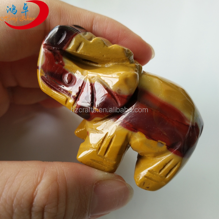 Carving semi precious stone Animal, jade elephant