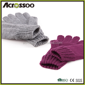 Acrylic cuffed knitted magic gloves, dyed color elastic winter computer mittens
