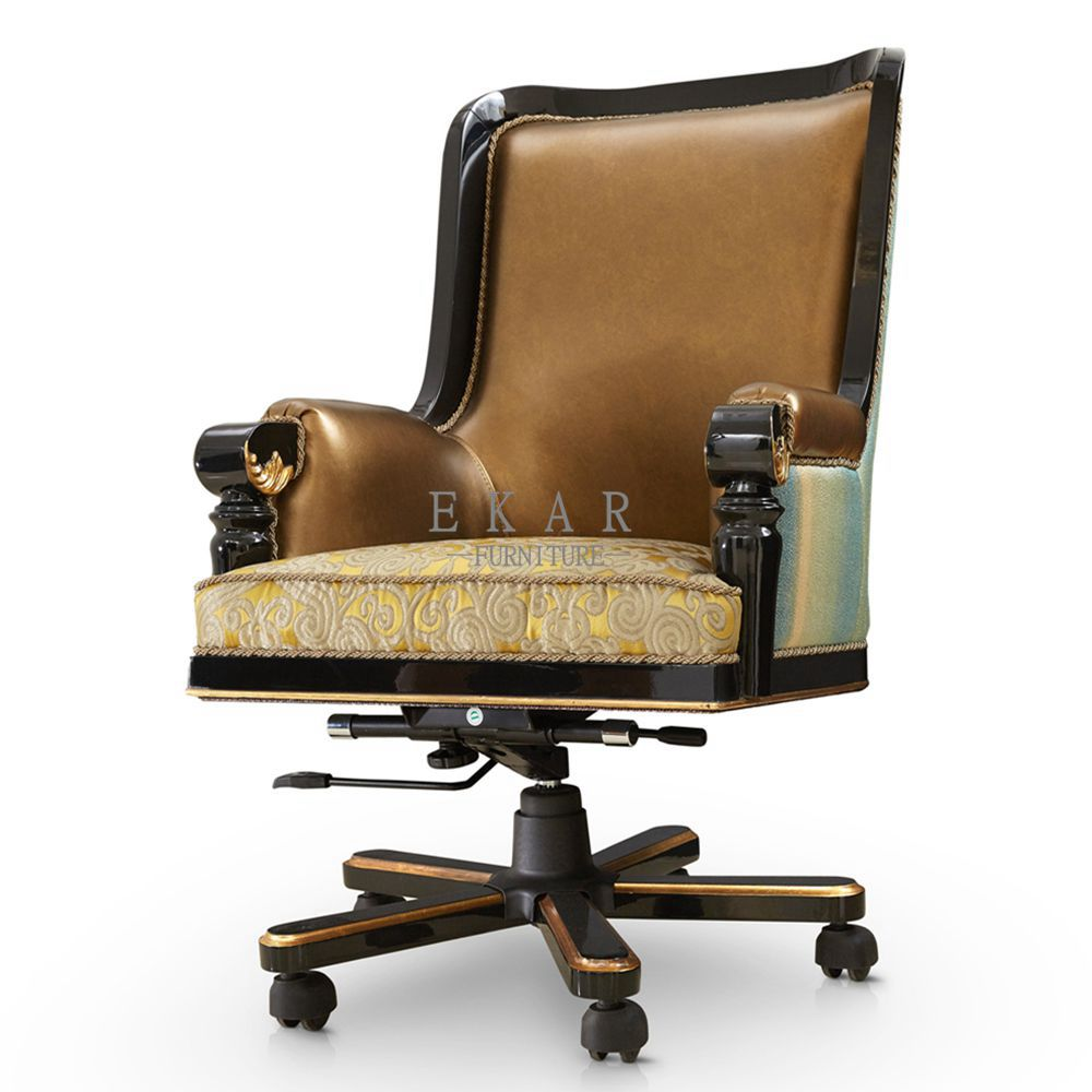 Gold Leather Executive Swivel Luxury Office Furniture Wooden Office Chair