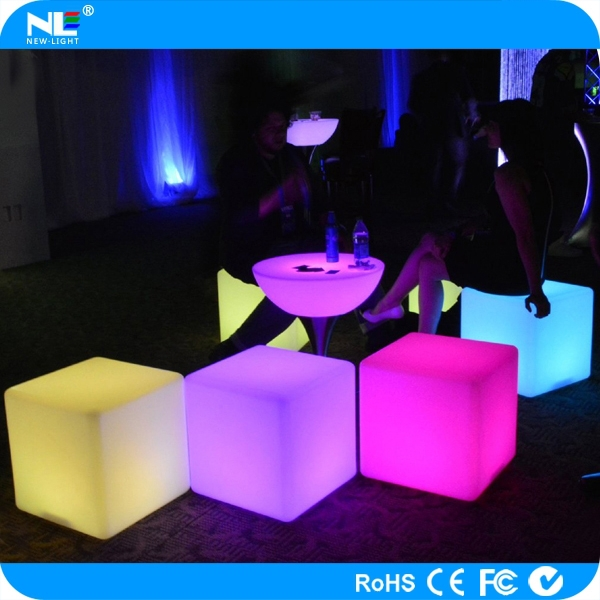 Rechargeable outdoor LED cube light / 3D decorative LED lighted cube table / LED cube chair
