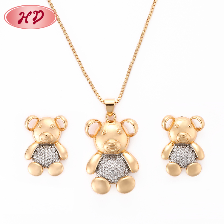 China Factory Direct Wholesale 18K Gold Plated Zircon Bear Necklace Jewelries <strong>Set</strong>