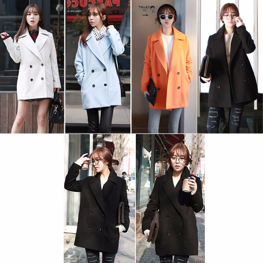 086d296ff2c 2019 Wholesale Winter Medium Long White Light Blue Wool Coat Women S Peacoat  Korean Fashion Double Breasted Plus Size Outwear Manteau Femme From Bida  Jany
