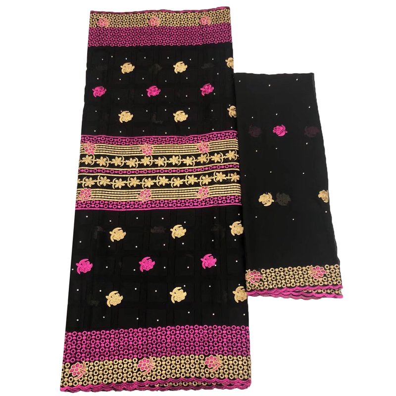 High quality african design embroidery design guinea brocade bazin riche getzner with beads, Black/pink