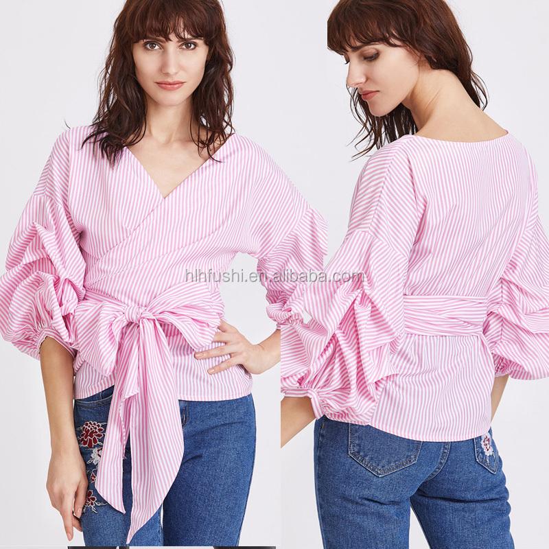 e8b2e23497b Latest trend ladies apparel western tunic design stripes puff sleeves women  fashion chic blouse/top