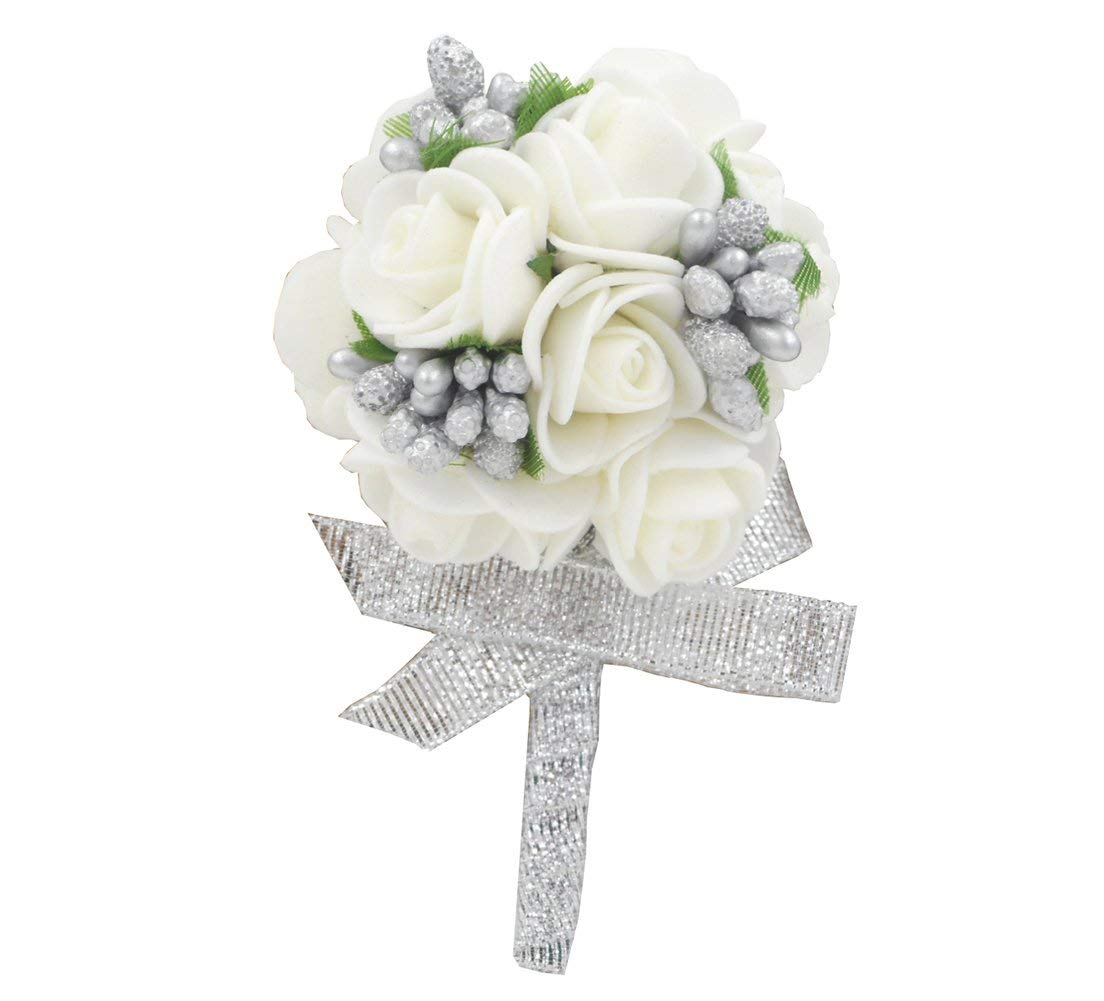 50a651117 Get Quotations · Wedding Boutonniere White Foam Rose for Men Flower Brooch  Silver Ribbon Best Man Groom Corsage Prom