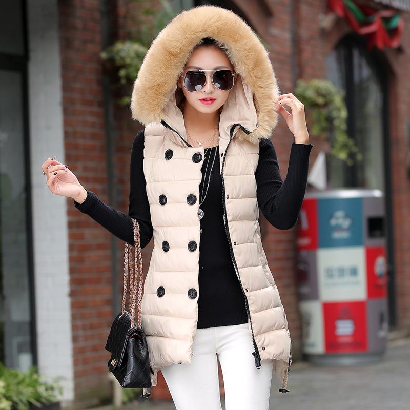 Женщины в зима длинная вниз хлопок жилет женщины приталенный большие закрытый воротник мех воротник жилет женщины куртки верхняя одежда и пальто