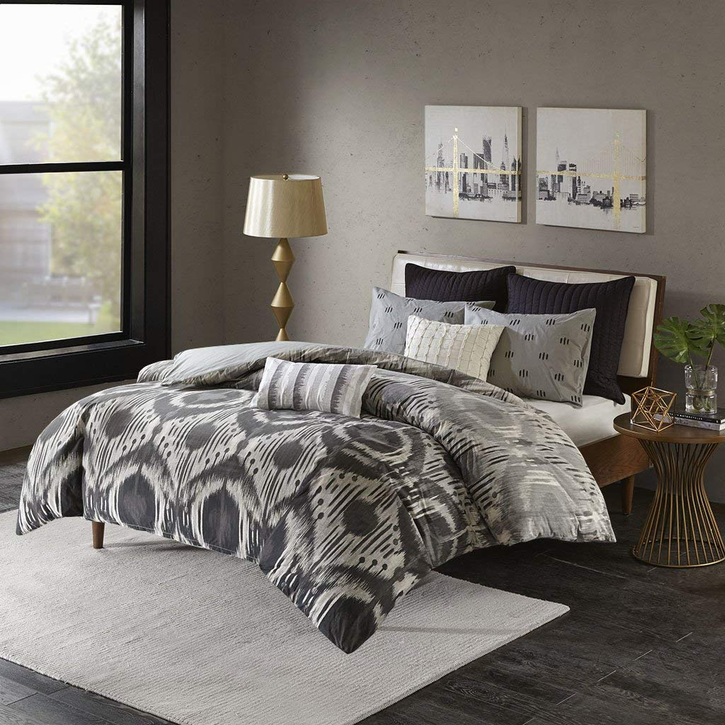 Ink+Ivy Orissa Duvet Cover King/Cal King Size - Grey, Geometric Ikat Pattern Duvet Cover Set – 3 Piece – 100% Cotton Percale Light Weight Bed Comforter Covers