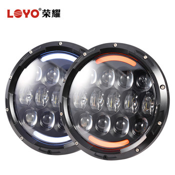 Projector 7 Inch Round Halo Lights H4 LED Headlight For Jeep Compass Lamp