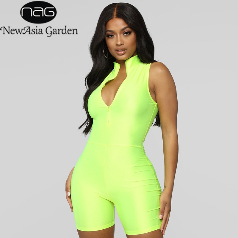 Glossy Neon Groene Jumpsuit Vrouwen Roze Zomer Jumpsuits Biker Shorts Sexy Rits Coltrui Active Wear Overalls