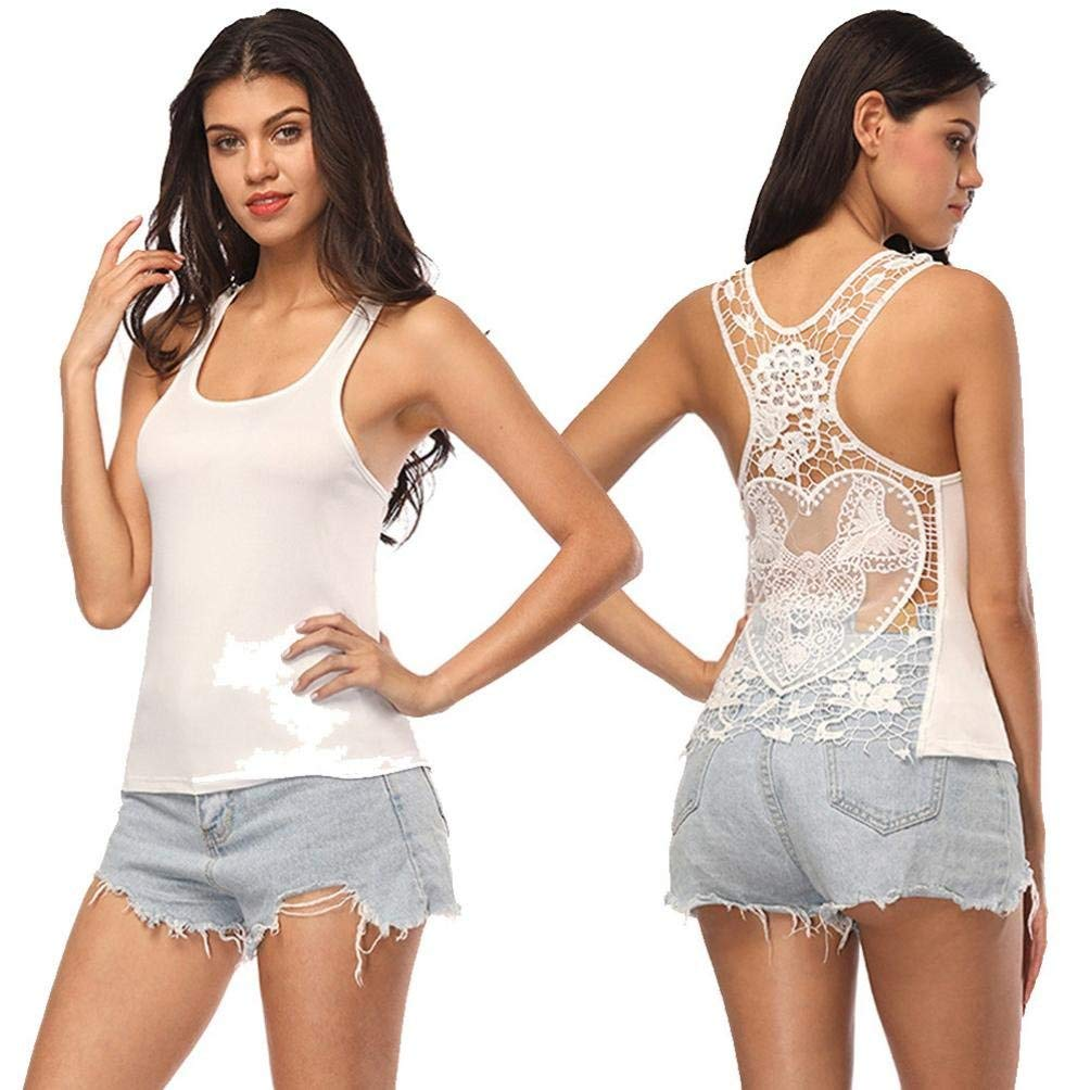 Alonea Women Tank Tops, Women Casual Lace Patchwork Top Blouse Sleeveless O Neck Vest Shirt