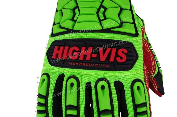 Seibertron HIGH-VIS HDC5 DECK CREW CUT-5 Impact Resistant Oil and Gas Safety Gloves,Cut Resistant Oilfield Impact Safety Gloves