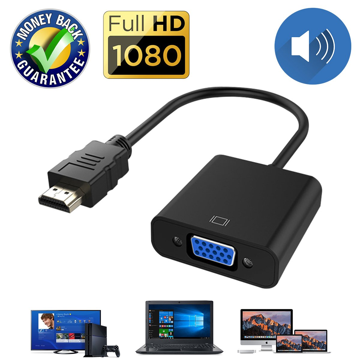 Cheap Vga Cord With Audio Find Deals On Line At Full Hd 1080p Hdmi Male To And Adapter For Hdtv Monitor Projector Konverter Kabel Get Quotations Cable Converter 15 Pin D Sub Gold