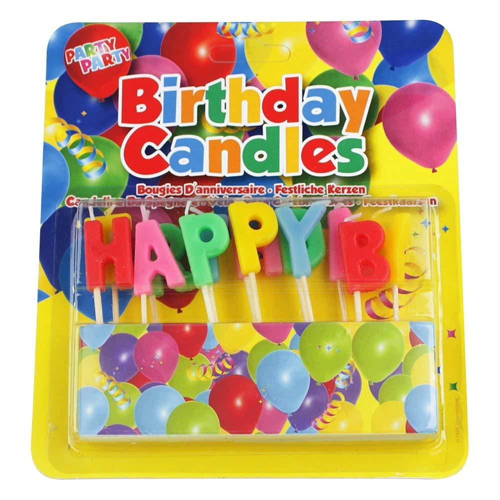 EBuyGB Novelty Birthday Candles For Cakes And Parties Happy