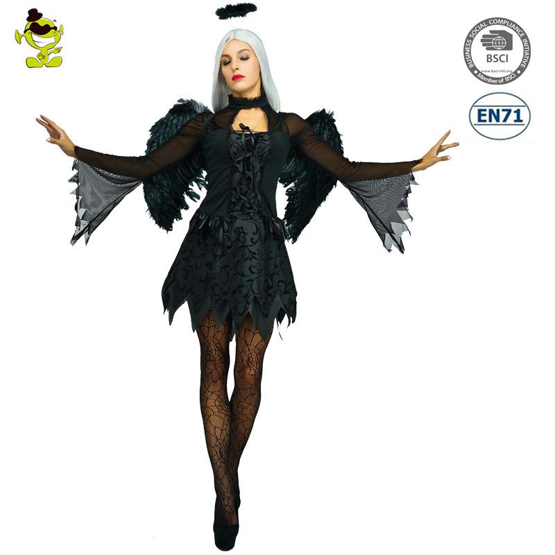 bild zeigen gefallen dark angel kostum damen schwarz deluxe halloween kostum kostume