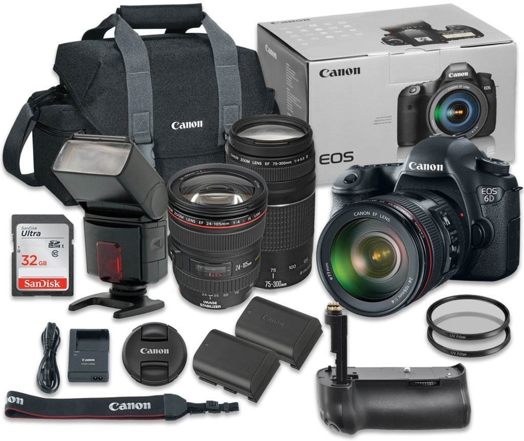 Canon EOS 6D 20.2 MP Full-Frame CMOS Digital SLR Camera Bundle with EF 24-105mm f/4 L IS USM Lens + Canon EF 75-300mm f/4-5.6 III Lens + SanDisk 32GB Ultra Class 10 SDHC + Accessory Kit