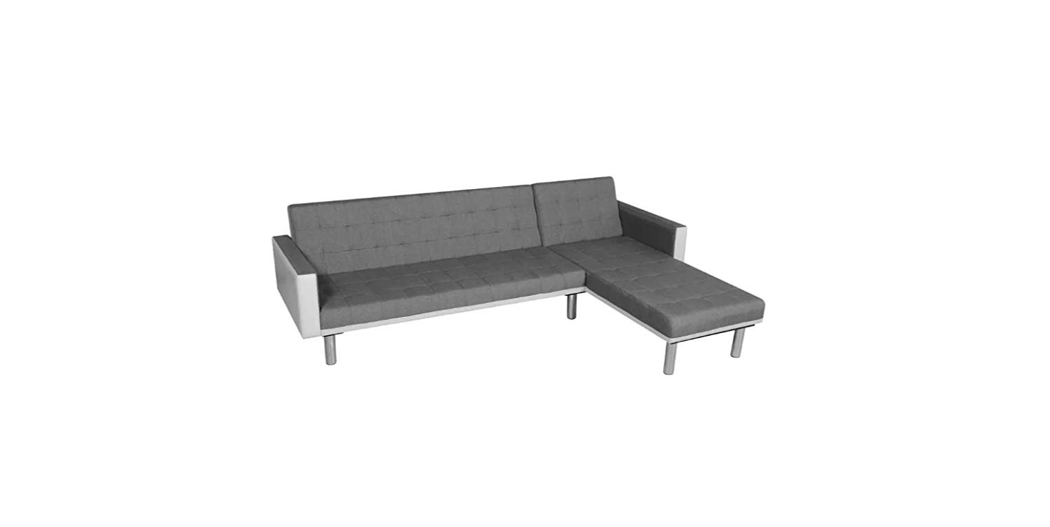 Sofa Bed L-shaped Fabric White and Gray K&A Company