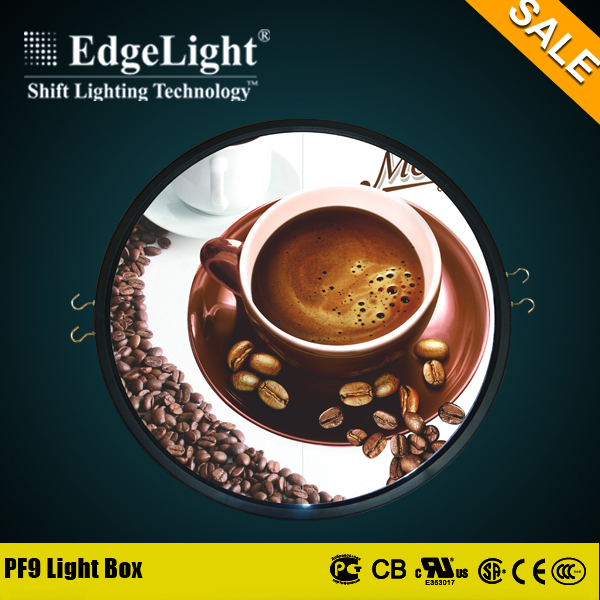 Edgelight round square advertising new ideas led lighted box with standard size
