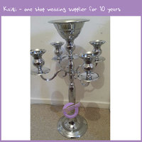 ZT49270 5 wedding gold silver plated candle holder candelabra with flower holder