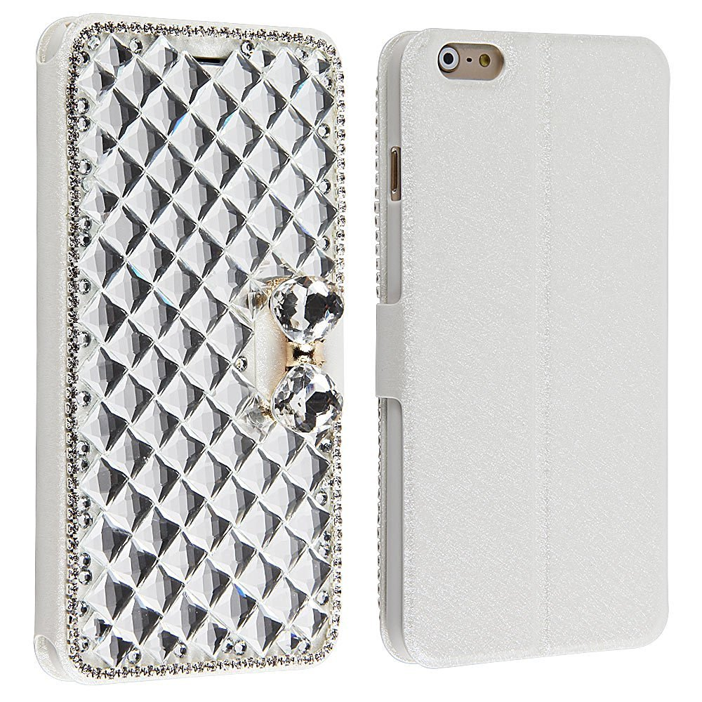 Leegoal(TM) 3D Bling Crystal Rhinestone Magnetic Wallet Synthetic Leather Case for IPhone 6 Plus 5.5 Inch(Silk Grain,Square Diamond Edge)