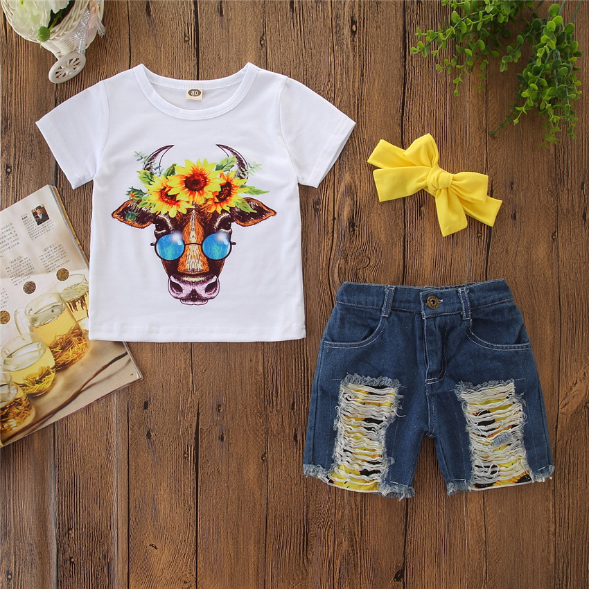 2019 Summer Baby Girl 3Pcs Set Sunflower Cow Short-sleeved Tops Ripped Denim Shorts Bow Headband Girl Clothes, As picture