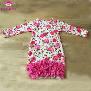 Newborn christening icing ruffle night gowns long sleeve girl preemie sleep pajamas baby floral winter layette gown