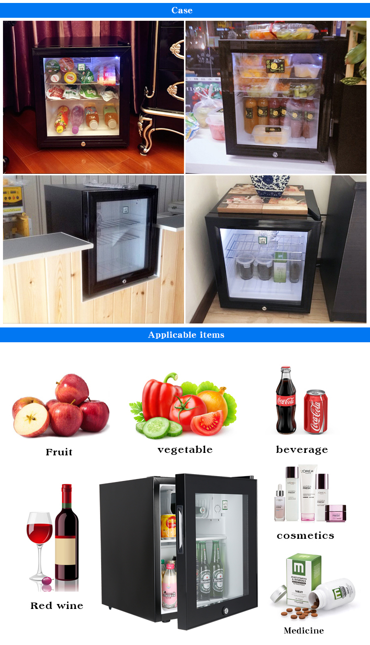 LVNI commercial hotel home 46L small drink glass door display energy drink compressor mini bar fridge refrigerator with freezer