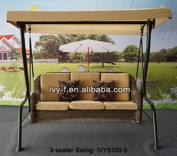 Outdoor Furniture Porch Swing Chair Round PE Rattan Woven 3 Seater Swing  With Canopy #